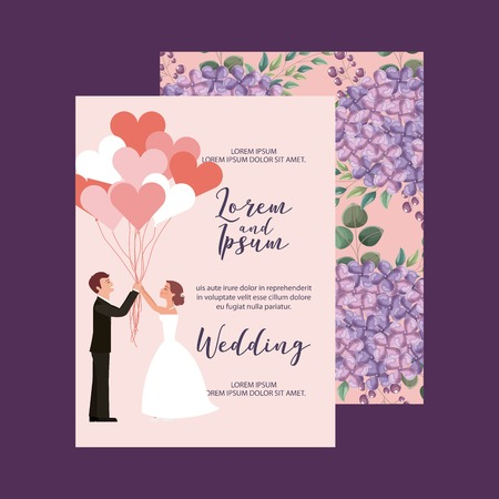 romantic couple holding balloons decoration floral wedding card vector illustration Illustration