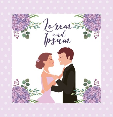 bride and groom their first dance wedding card flowers vector illustration Illustration