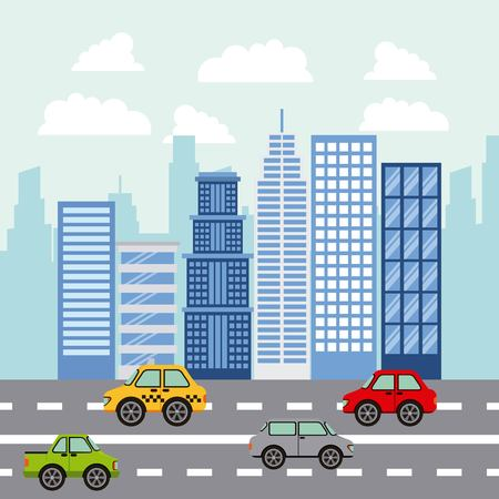 city high buildings stree colorful cars clouds vector illustration