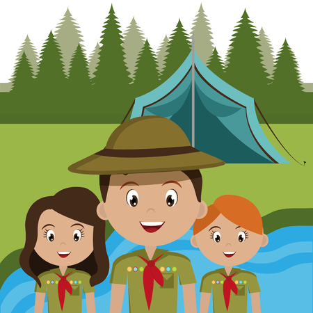 group of scouts in the camping zone vector illustration design Illustration