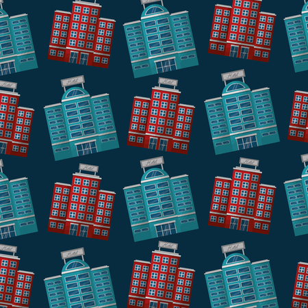 hotels building facade accommodation background vector illustration