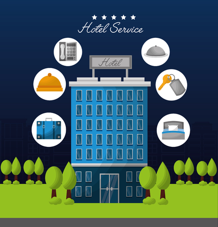 hotel building service many trees stickers bag key suit lodging ring call vector illustration