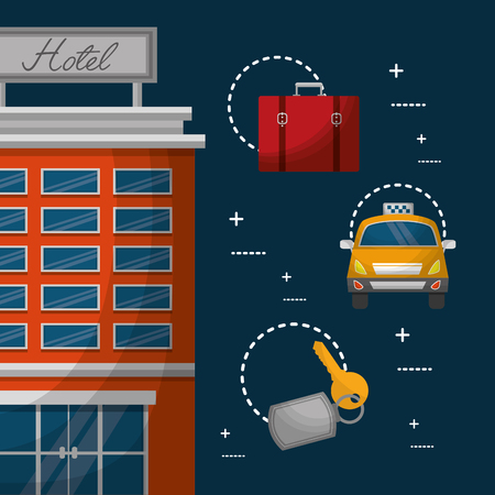 hotel building billboard in roof with taxi suitcase vector illustration Illustration