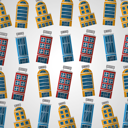 hotel buildings colorful lodging background vector illustration Illustration