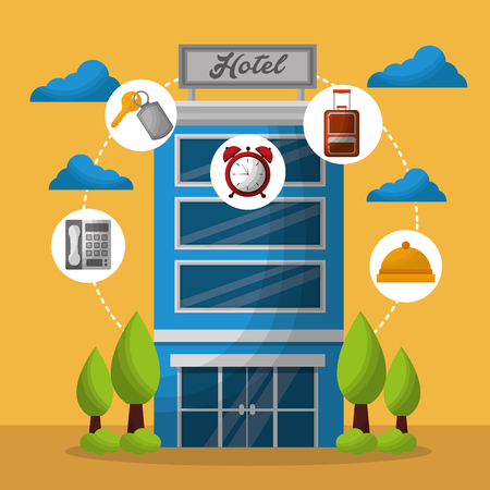 hotel building trees clouds stickers red clock ring telephone key suit vector illustration Illustration