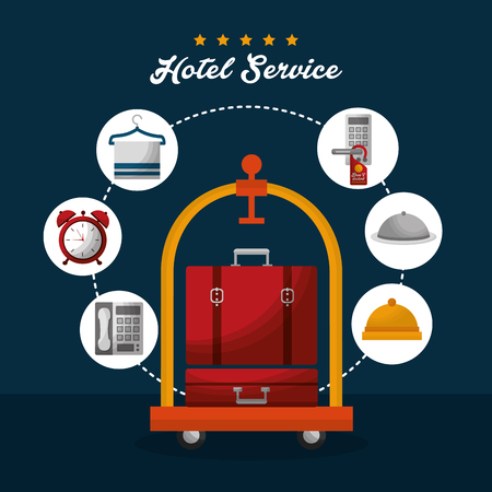 hotel building service luggage cart handbag connection stickers ring clocks vector illustration Illustration