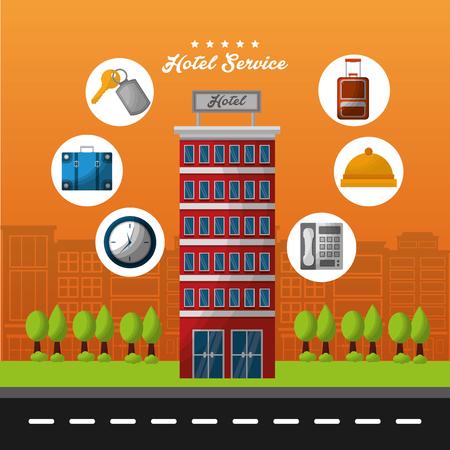 hotel building service stickers ring telephone bag key suit clocks vector illustration Illustration