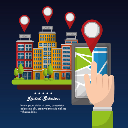 hotel service hand with smartphone location vector illustration