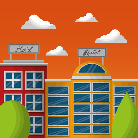 hotel service facade exterior with billboard in roof vector illustration Stock Illustratie