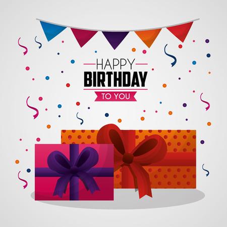 happy birthday card confetti big gift boxes pennants serpentines vector illustration Stock Illustratie