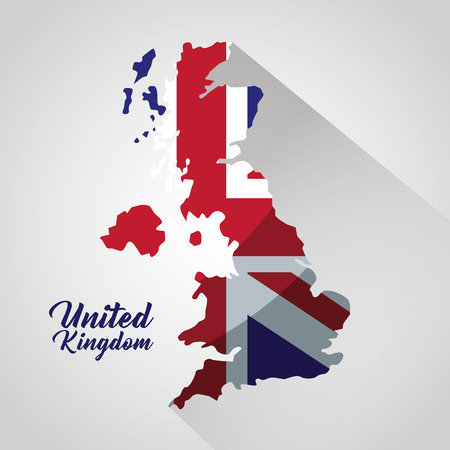 united kingdom country grunge map  british    flag sign vector illustration