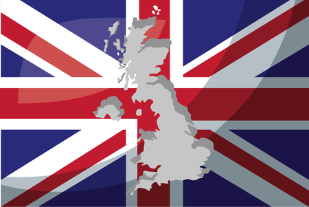 united kingdom country flag grunge map british vector illustration