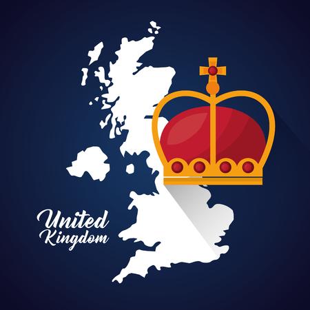 Reino Unido país brillante grunge mapa corona reina ilustración vectorial