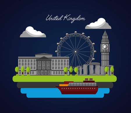 united kingdom country flag sea boat city london eye big ben trees vector illustration