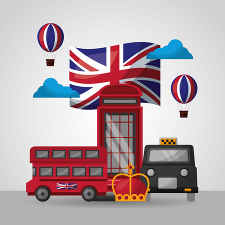 united kingdom country flag clouds hot air balloon telephone box taxi double decker crown vector illustration Stock Illustratie