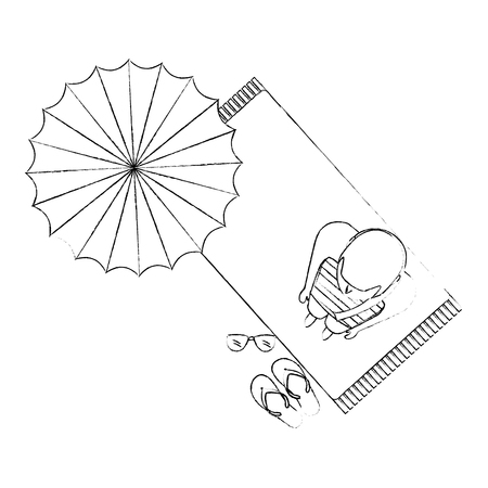 top view woman in swimsuit on towel with umbrella beach vector illustration