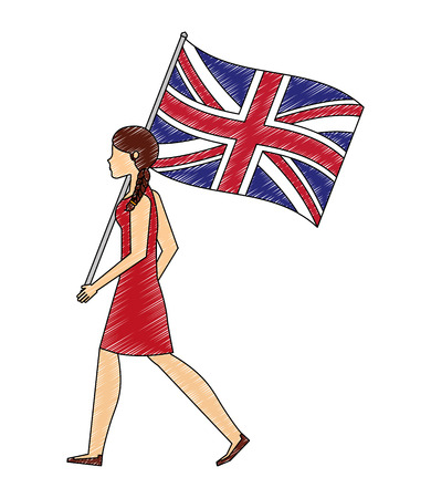 woman walking with united kingdom flag vector illustration vector illustration Illustration
