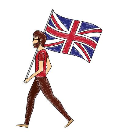 young man walking with united kingdom flag vector illustration vector illustration
