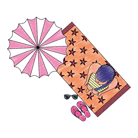 Vista superior mujer en traje de baño en toalla con ilustración de vector de playa sombrilla