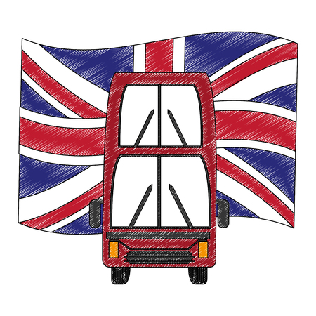 england flag and london double decker bus vector illustration