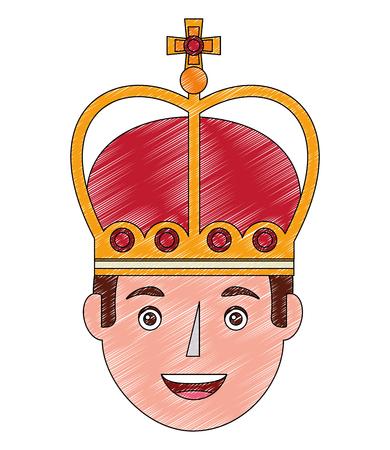 king man wearing crown royalty vector illustration Illusztráció