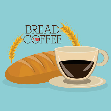 delicious bread and coffee label vector illustration design