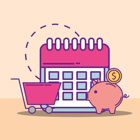 piggy bank coin shopping cart calendar buy online vector illustration