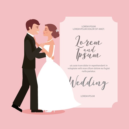 bride and groom their first dance wedding card vector illustration