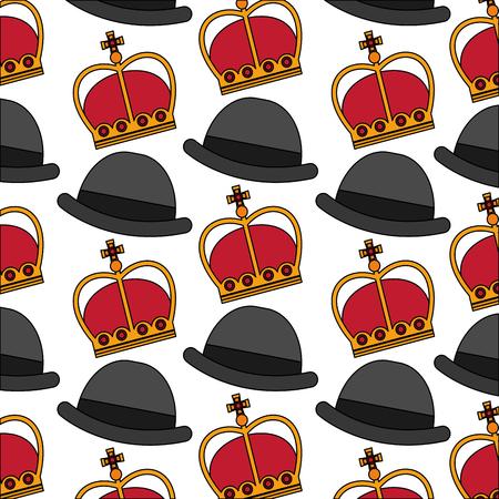 english bowler hat and crown royal background vector illustration Illustration
