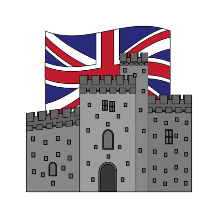 cardiff castle wales united kingdom flag vector illustration