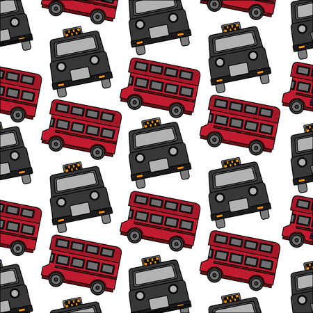 english taxi and double decker bus pattern vector illustration
