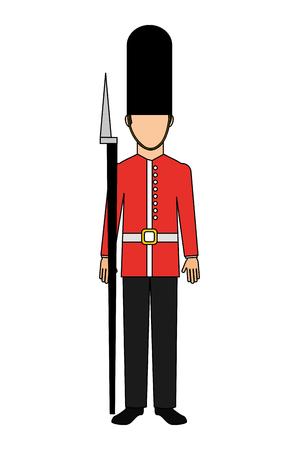 guardia britannica reale con cappello di pelle d'orso e illustrazione vettoriale arma Vettoriali