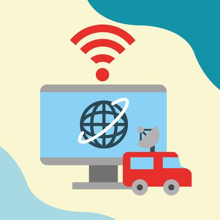 news communication relate screen computer world wifi signal car antenna vector illustration