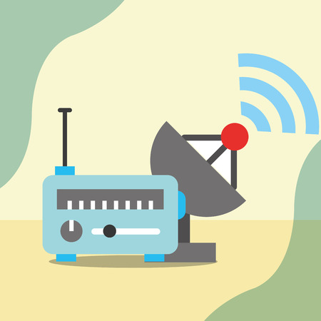 news communication relate signal antenna radio vector illustration