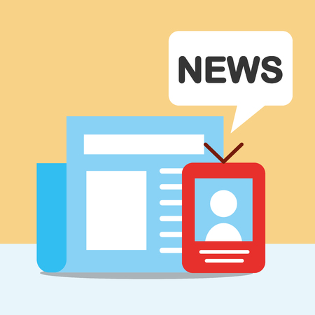 news communication relate newspaper information perfile technology vector illustration