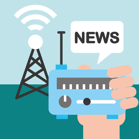news communication relate tower wifi signal hand holding radio vector illustration