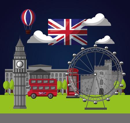 united kingdom country flag night clouds wheel big ben wheel castle double decker vector illustration Stock Illustratie