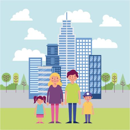 people park and city happy family holding hands smiling behind high buildings trees clouds vector illustration Archivio Fotografico - 104734717