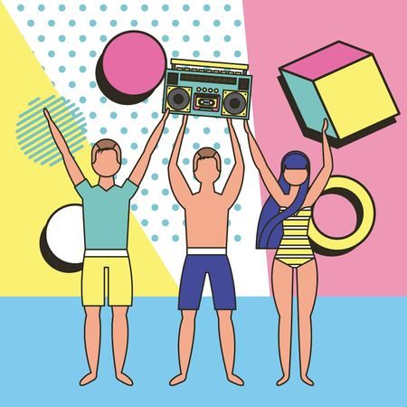 summer time vacations guys hands up holding cube tape recorder vector illustration 스톡 콘텐츠