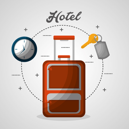 hotel suitcase clock and chain key vector illustration