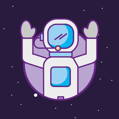 space galaxy cosmic card astronaut hands up stars science explore station vector illustration