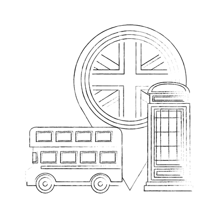 london double decker bus telephone box and flag pin location vector illustration