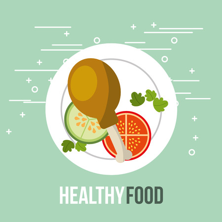 fresh chicken and tomato cucumber healthy food vector illustration
