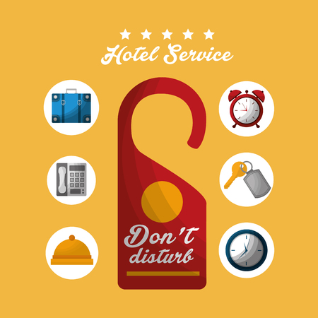 hotel building do not disturb tag code handbag key suit clocks telephone vector illustration