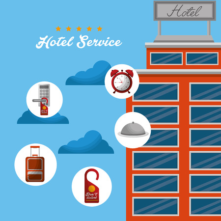 hotel building high clouds stickers clock ring code service vector illustration