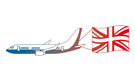 airplane flying with england flag vector illustration gradient design