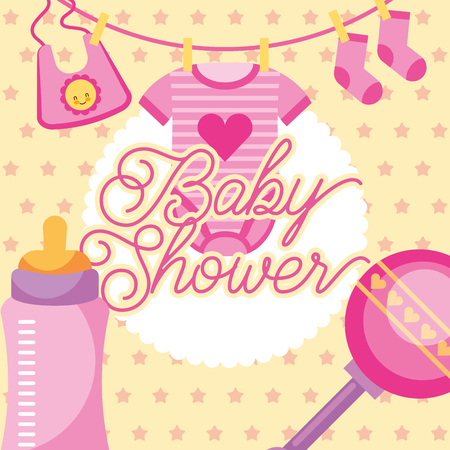 pink clothes and rattle feeding bottle baby shower card vector illustration Illustration