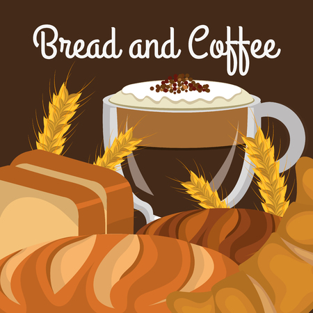 delicious breads and coffee label vector illustration design Illustration