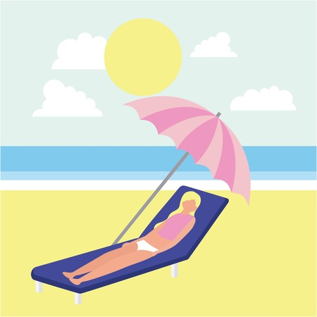 summer time sunny day clouds blonde girl lying down umbrella vector illustration Stock fotó - 104734870