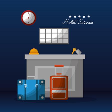 hotel service reception suitcases bell key clock vector illustration
